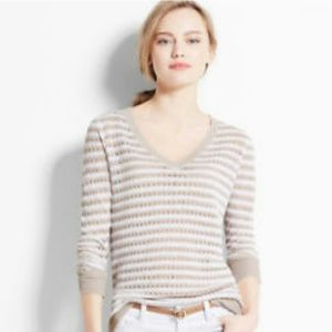 Ann Taylor Striped V- Neck Sweater - Small